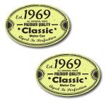 PAIR Distressed Aged Established 1969 Aged To Perfection Oval Design Vinyl Car Sticker 70x45mm Each